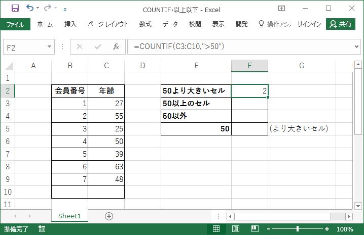 COUNTIF関数で「○以上/○以下」である数値セルを数える